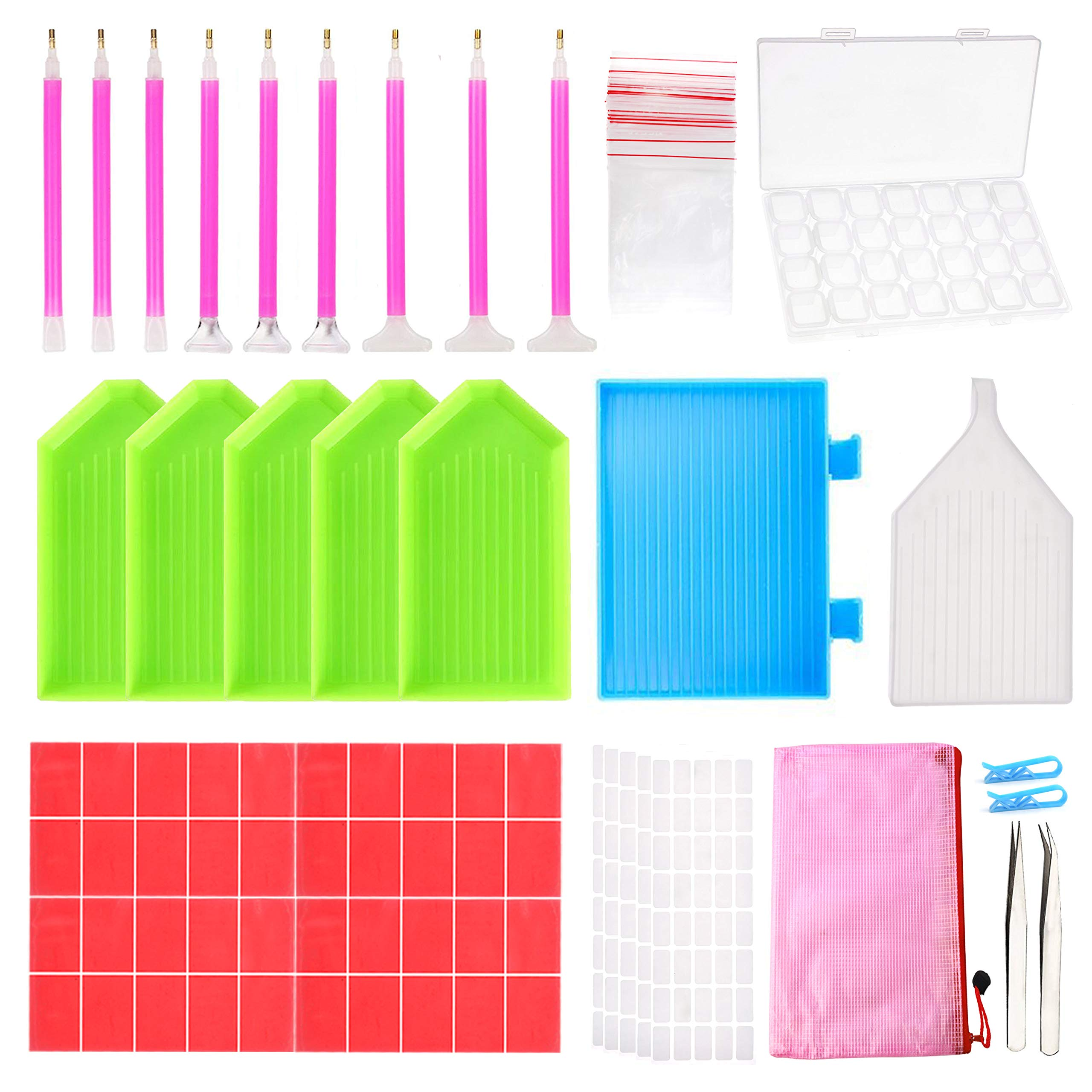Outuxed 127pcs 5D DIY Diamond Painting Accessories Diamond Painting Tools Cross Stitch Tool Set with 28 Slots Diamond Embroidery Box and Stickers for Art Craft