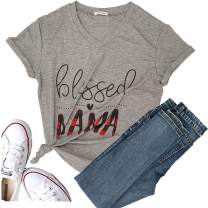 Mama Needs a Beer Women's Short Sleeve Christmas Cute T-Shirt Graphic Tees Tops Casual Funny Blouse Tops