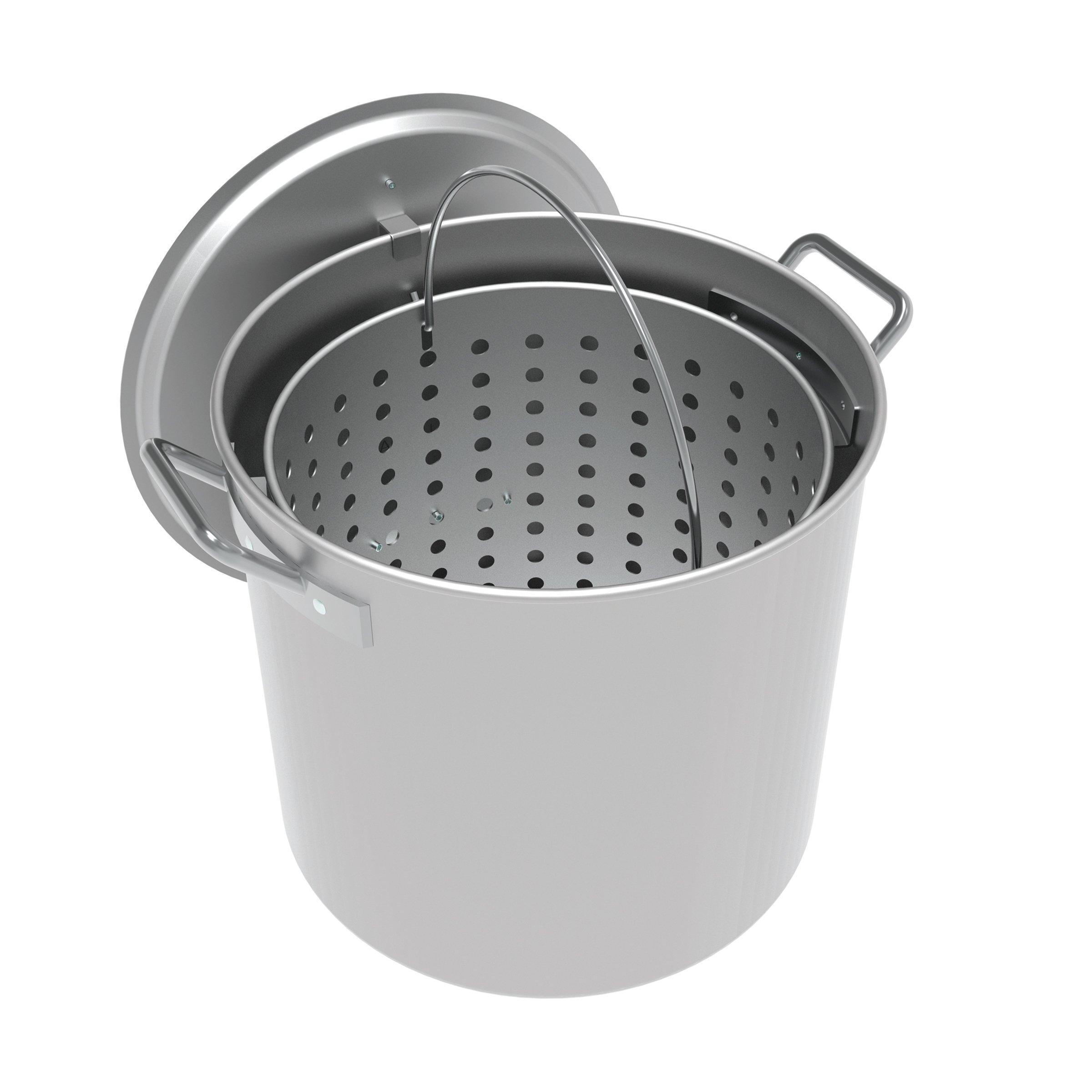 LoCo Cookers LCPT60 Aluminum Boiling Pot, 60 Quart, Silver