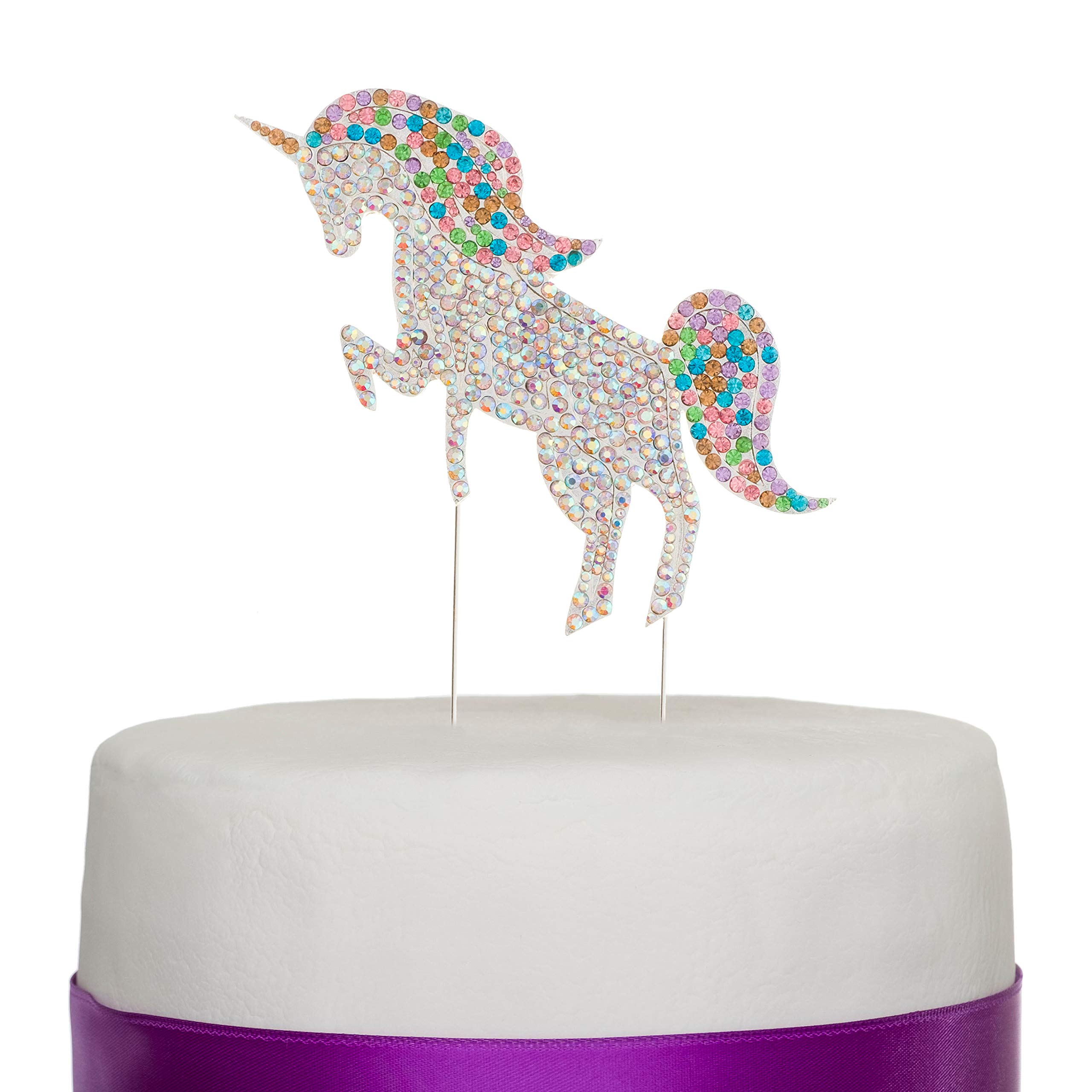 Ella Celebration Unicorn Birthday Cake Topper Unique Reusable Rainbow Rhinestone Cake Decorations for Party, Baby Shower, Event Supplies and Favors (Multicolor)