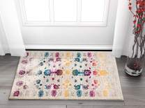 """Well Woven Hebe Vintage Distressed Floral Color Wave Bright Mult Striation Color Oriental 2x4 (2'3"""" x 3'11"""") Area Rug"""