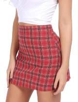 FISOUL Women's High Waist Bodycon Mini Skirt School Girl Plaid Uniform Skirt