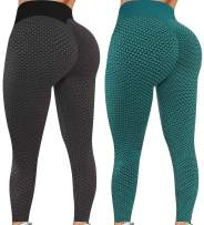 Blivener Famous TIK Tok Yoga Leggings for Women 2 Pack Butt Lifting Yoga Pants High Waisted Workout Leggings
