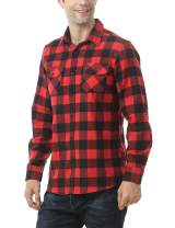 Leisurely Pace Men's Button Down Long-Sleeve Buffalo Plaid Flannel Shirt