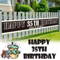 LINGPAR 9.8 x 1.6 ft Large Sign Happy 35th Birthday Banner - Cheers to 35 Years Old Decor