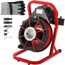 Mophorn 50 Ft x 3/8 Inch Drain Cleaner Machine fit 1 Inch (25mm) to 4 Inch(100mm) Pipes Drain Cleaning Machine Portable Electric Drain Auger with Cutters Glove Drain Auger Cleaner Sewer Snake