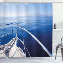 "Ambesonne Navy Shower Curtain, Boat Show Ocean Sea Life with Ship Yacht Landscape of Islands Image Photo, Cloth Fabric Bathroom Decor Set with Hooks, 70"" Long, Navy Blue"