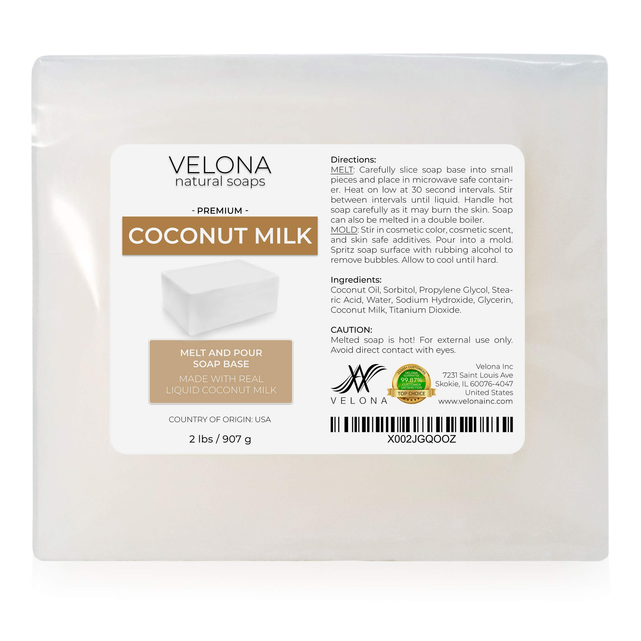 2 LB - Coconut Milk Glycerin Soap Base by Velona | SLS/SLES Free | Melt and Pour | Natural Bar for The Best Result for Soap Making