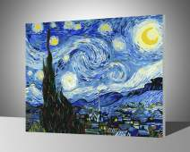 "Paint by Numbers for Adults with Frame by BANLANA, DIY Adult Paint by Number Kits for Beginners on Canvas Wooden Framed 16"" by 20"" (Van Gogh The Starry Night, Framed)"