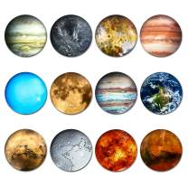 simpletome Fridge Magnets Strong 12Pack Luminous 3D Glass 1.58inch Diameter Bigger Size Lifelike for Refrigerator Office Whiteboard Home Decoration (Planet)