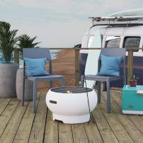 """Novogratz 87830WHT1E Poolside Collection, Asher 22"""" Wood Burning Grilling Surface, Bright White Fire Pit"""