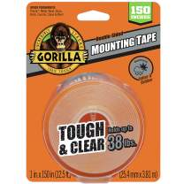 "Gorilla Tough & Clear Double Sided XL Mounting Tape, 1"" x 150"", Clear, (Pack of 1)"
