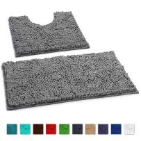 LuxUrux Bathroom Rugs Luxury Chenille 2-Piece Bath Mat Set, Soft Plush Anti-Slip Bath Rug +Toilet Mat.1'' Microfiber Shaggy Carpet, Super Absorbent (Curved Set, Light Grey)