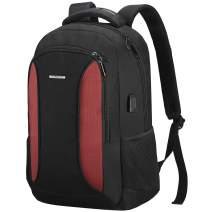 TOGORE WorkGo Slim Laptop Backpack 15.6 Inch, Water Resistant Travel Business Computer Backpack with USB Charging Port for Women & Men - Red
