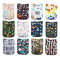 LilBit Baby Cloth Diapers,One Size Adjustable Reusable Pocket Cloth Diaper 12pcs Diapers + 12pcs Charcoal Bamboo Inserts+1 Wet Bag, (color2)