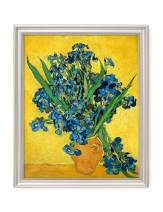 DECORARTS - Irises Vase Flower, Vincent Van Gogh Art Reproduction. Giclee Print& Framed Art for Wall Decor. 20x16, Framed Size: 23x19