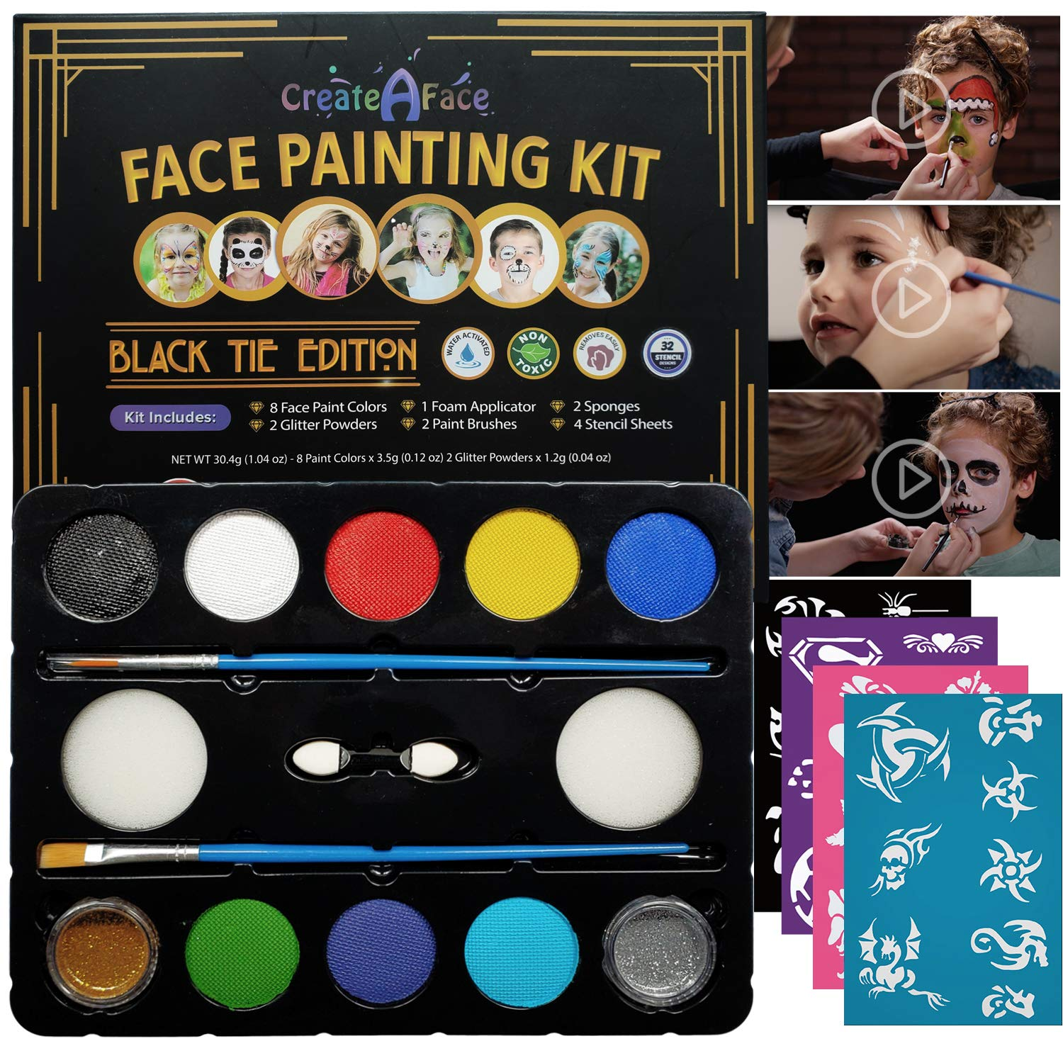 Face Painting Set for Parties with 32 Stencils (for 50-80 Face Paint Projects) 8 Colors, 2 Brushes, 2 Glitters, 2 Sponges & 2 Applicators Included - 100% Safe, Easy On and Off, Water Activated