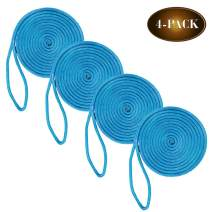 """DC Cargo Mall 4 Marine-Grade Double-Braided Dock Lines   1/2"""" X 20' Double-Braided Nylon Dock Line with 12"""" Eyelet   Dock Line for Boats"""