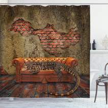 "Ambesonne Fantasy Shower Curtain, Decadence Grunge Ruin Brick Wall and a Giant Lizard on The Sofa Surreal Art, Cloth Fabric Bathroom Decor Set with Hooks, 70"" Long, Vermilion Umber"