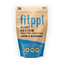 fitppl Plant Protein Superfood + Adaptogens (Cocoa & Blueberry) | Organic Ingredients, Stevia-Free, Gluten-Free, Vegan, Non-GMO, All Natural, Eco-Friendly Protein Powder - (20 Servings)