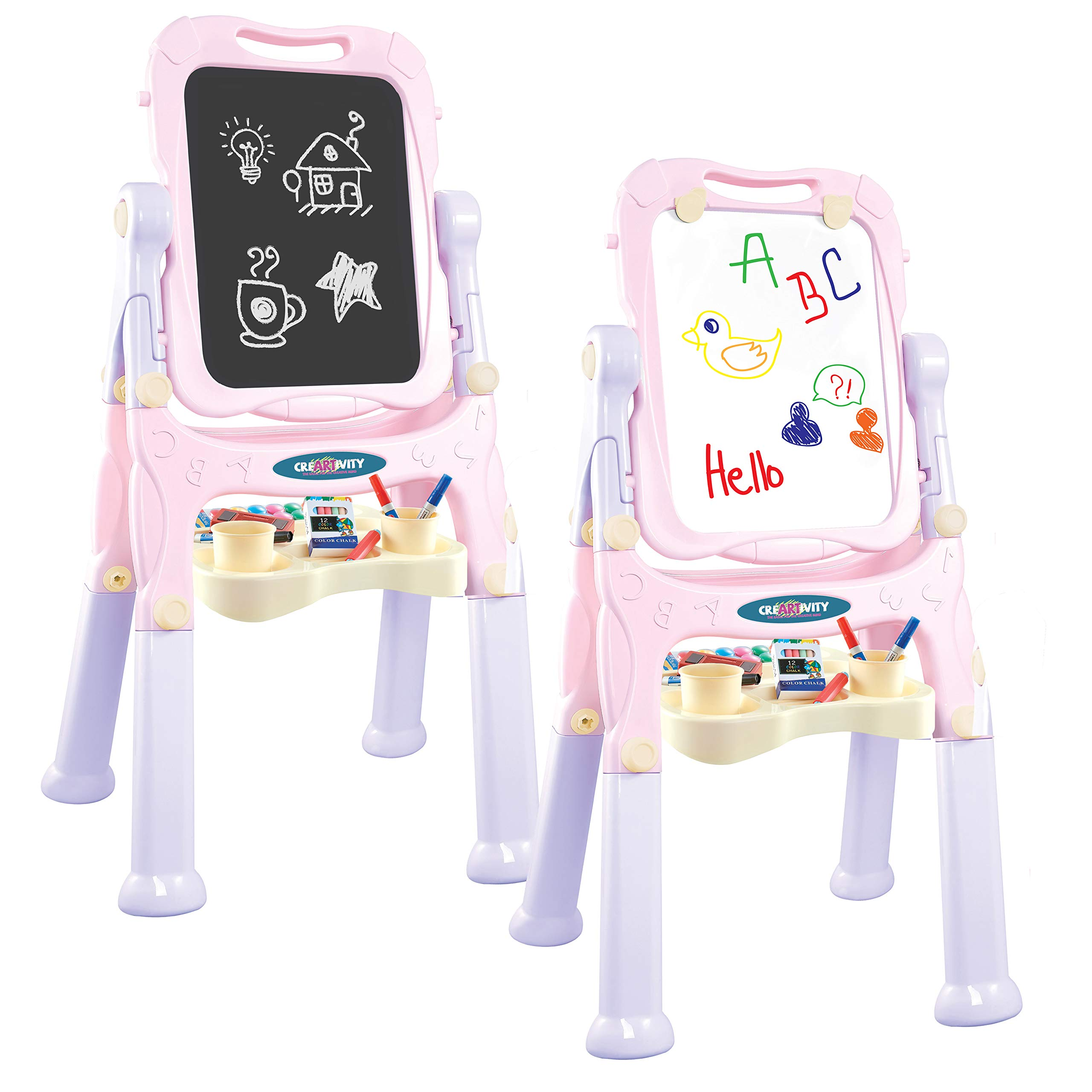 Kraftic All in One Kids Art Easel and Painting Board, Double Sided with Chalkboard and Whiteboard, Magnetic Dry Erase Drawing Board with Storage Tray for Childrens Accessories