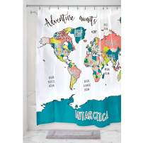 """iDesign Plastic World Map Shower Curtain Waterproof, BPA-Free Vinyl Shower Curtain for Kids, Teenagers, College Dorm Bathrooms, 72"""" x 72"""", Multi-Colored"""
