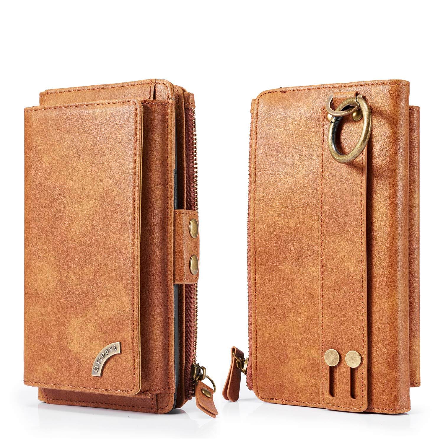 QLTYPRI iPhone XR Wallet Case, Premium PU Leather Clutch Detachable Magnetic 12 Card Holder 2 Cash 1 Zip Pocket Purse Protective PC Shell Multi-Functional Case Cover for iPhone XR - Brown