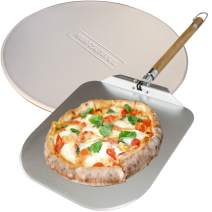 neatNuseful Pizza Stone and Peel - 2-in-1 Kitchen Baking Set for Homemade Foods, Bread, Pastry - Aluminum Spatula with Foldable Wooden Handle for Easy Storage - Food-Safe Natural Cordierite Stoneware