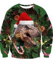 Idgreatim Teenager Girls Boys Ugly Christmas Sweatshirt Long Sleeve Dinosaur Xmas Gift Sweater Shirt S