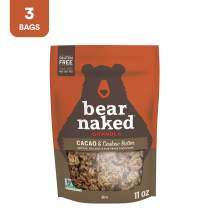 Bear Naked Cacao and Cashew Butter Granola - Non-GMO Project Verified, Fair-Trade Certifed Cocoa and Gluten-Free - 11oz Bag (3 Pack)