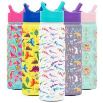 Simple Modern 22oz Summit Kids Water Bottle Thermos with Straw Lid - Dishwasher Safe Vacuum Insulated Double Wall Tumbler Travel Cup 18/8 Stainless Steel -Watercolor Sharks