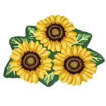 USTIDE Sunflower Rug for Kitchen Handmade Rug Yellow Flower Floor Mat Modern Rustic Carpet Washable Non-Slip Bathroom Mat for Bedroom/Foyer 3x2
