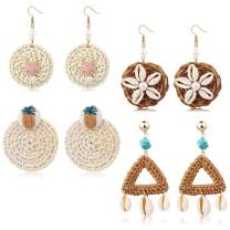 LOYALLOOK 4Pairs Rattan Dangle Earrings Bohemian Straw Earring Shell Statement Earring Handmade Wicker Braid Hoop Earrings for Women