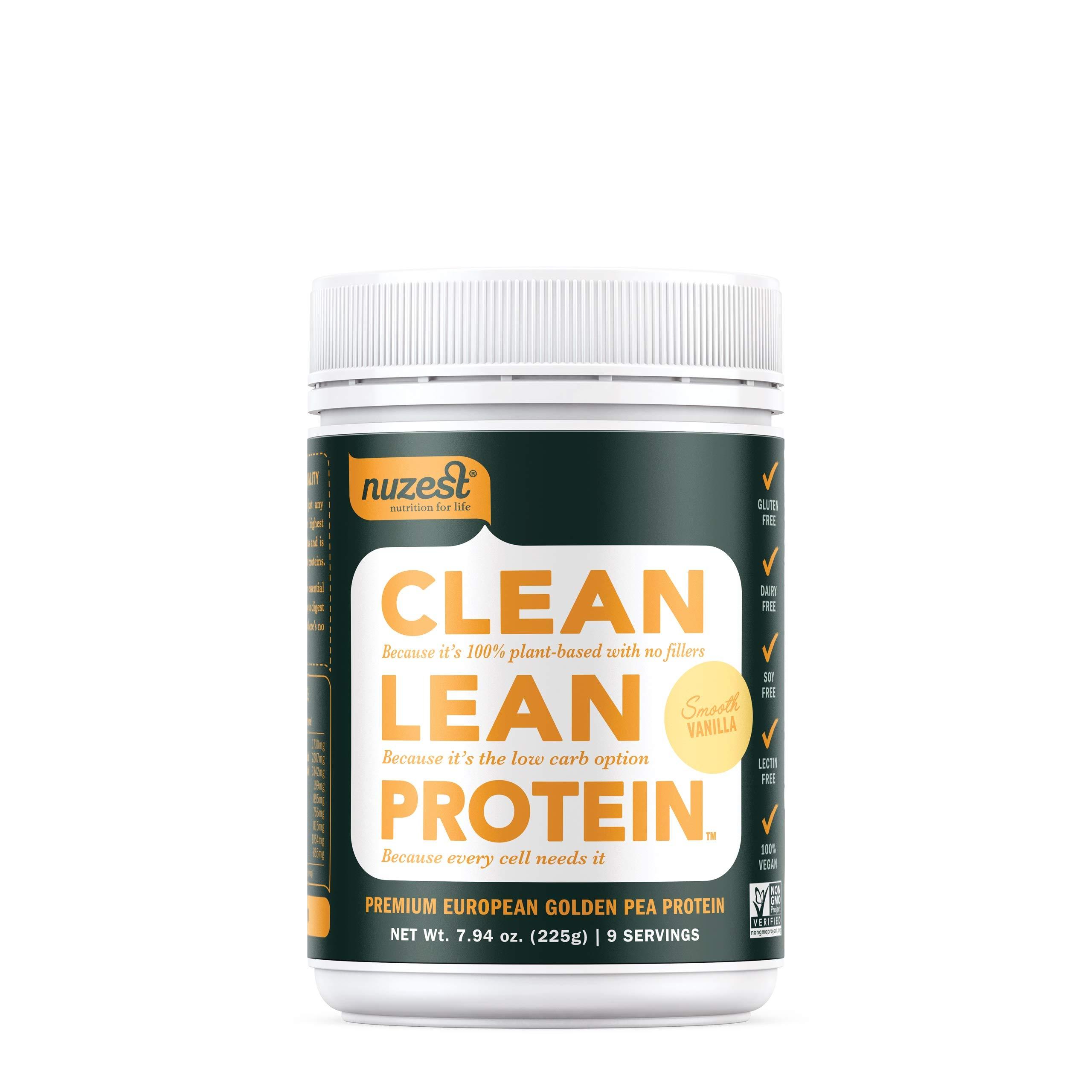 Nuzest Clean Lean Protein - Premium Vegan Protein Powder, Plant Protein Powder, European Golden Pea Protein, Dairy Free, Gluten Free, GMO Free, Naturally Sweetened, Smooth Vanilla, 9 Servings, 7.9 oz