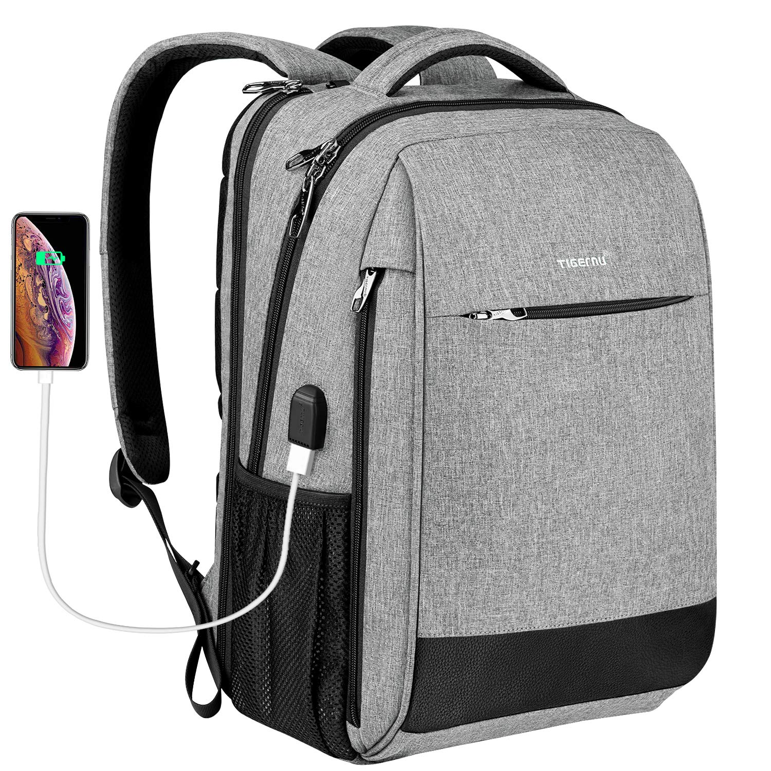 Laptop Backpack,Tigernu Business Travel Anti Theft Slim Durable Laptops (Max 15.6 Inch) Backpack with USB Charging Port,Water Resistant College School Computer Bag for Women & Men