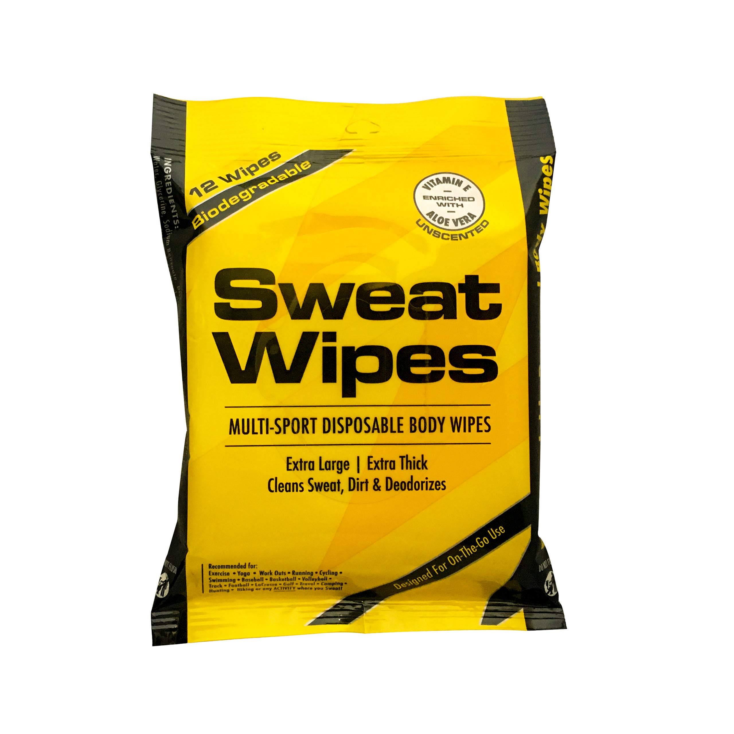 Body Wipes to Clean Sweat, Dirt, & Deodorize - 12 XL Package Travel Wipes For Rinse Free Shower