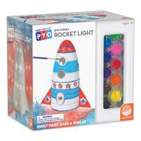 MindWare Paint Your Own Porcelain: Rocket Light with 2 Tea Lights, 12 Paints & 2 Brushes - Creative paintable Pottery Crafts & Gift Kits for Kids
