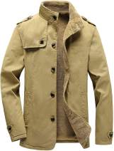 Vcansion Men's Winter Cotton Fleece Lined Jacket Coat Single Breasted Outerwear