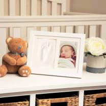 """Nuby Baby Keepsake Classic White Wooden Wall Decor Frame That Holds One 3.5 x 5"""" Photo & 1 Clay Print Kit for Newborn Girls & Boys, Personalized Baby Gift"""