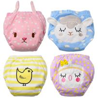Baby Girl's Training Pants Toddler Training Underwear 4 Packs Cute Potty Cloth Diaper Cotton Nappy Underwear for Kids Reusable 3 Layers Potty Pants Pink