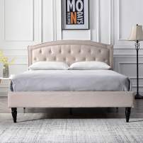 Classic Brands Wellesley Upholstered Platform Bed | Headboard and Metal Frame with Wood Slat Support, Full, Linen