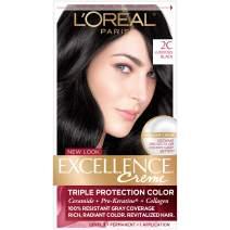 L'Oreal Paris Excellence Créme Permanent Hair Color, 2C Luscious Black, 1 kit 100% Gray Coverage Hair Dye