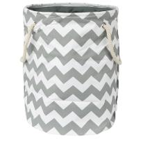 Modern Littles Standing, Folding Laundry Basket, Grey Chevron - Collapsible Bin for Toys - Bedroom Organizer - Foldable Bin with Large Capacity. Adult and Kids Kid's Room Décor