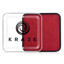 Kraze FX Square - Metallic Red Face Paint (25 gm) - Hypoallergenic, Non-Toxic, Water Activated Professional Face & Body Painting Makeup Supplies for Sensitive Skin, Kid Safe, Adults