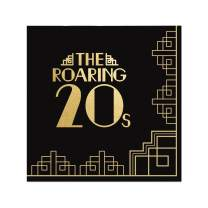 Big Dot of Happiness Roaring 20's with Gold Foil - 2020 Graduation and Prom Party Supplies - 1920s Art Deco Jazz Party Cocktail Beverage Napkins (16 Count)