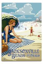 Lantern Press Jacksonville Beach, Florida, Woman and Beach Scene 34182 (6x9 Aluminum Wall Sign, Wall Decor Ready to Hang)