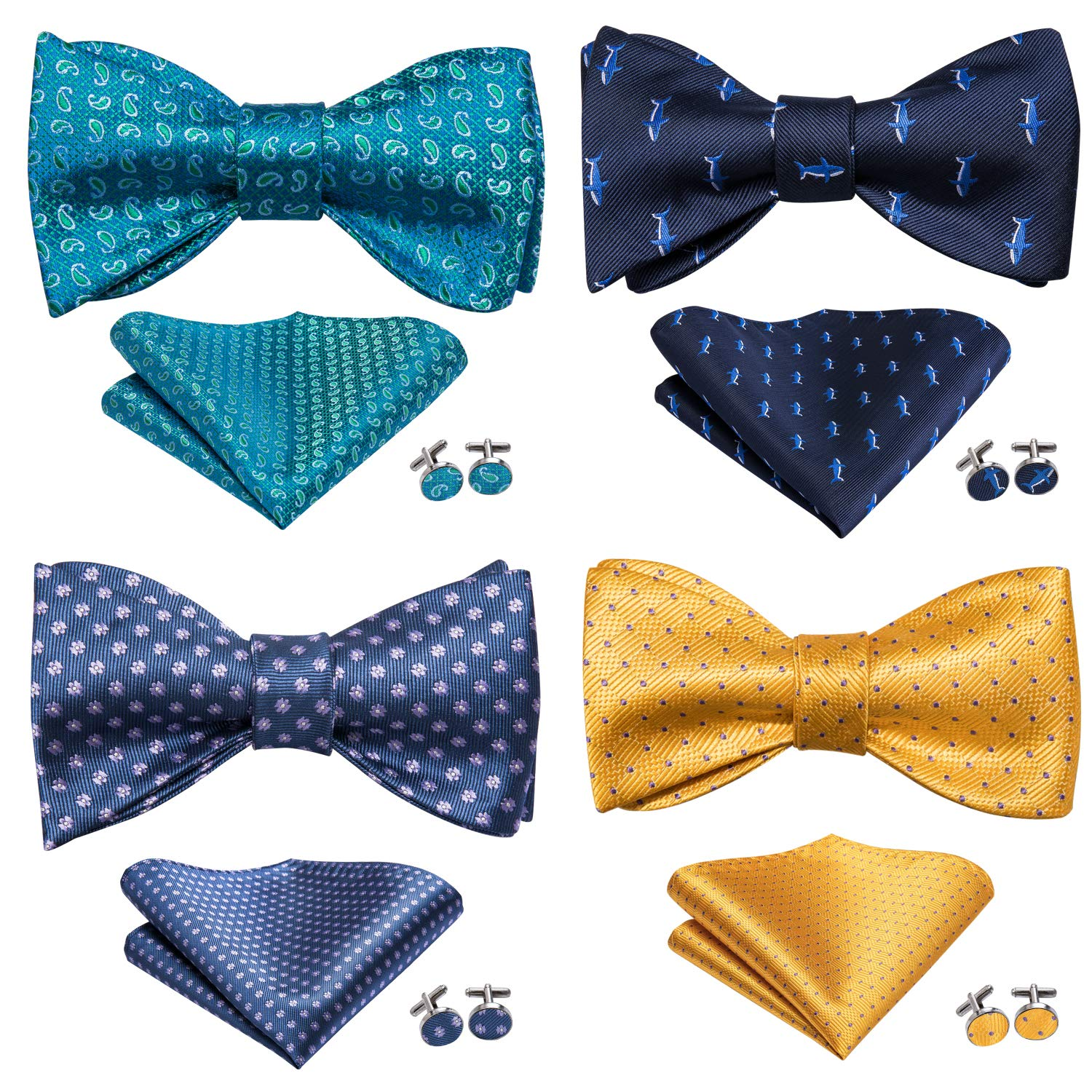 Dubulle 4 pcs Self Bow Ties for Men Bulk with Pocket Square Self Tie Bowtie and Cufflinks in Gift Box