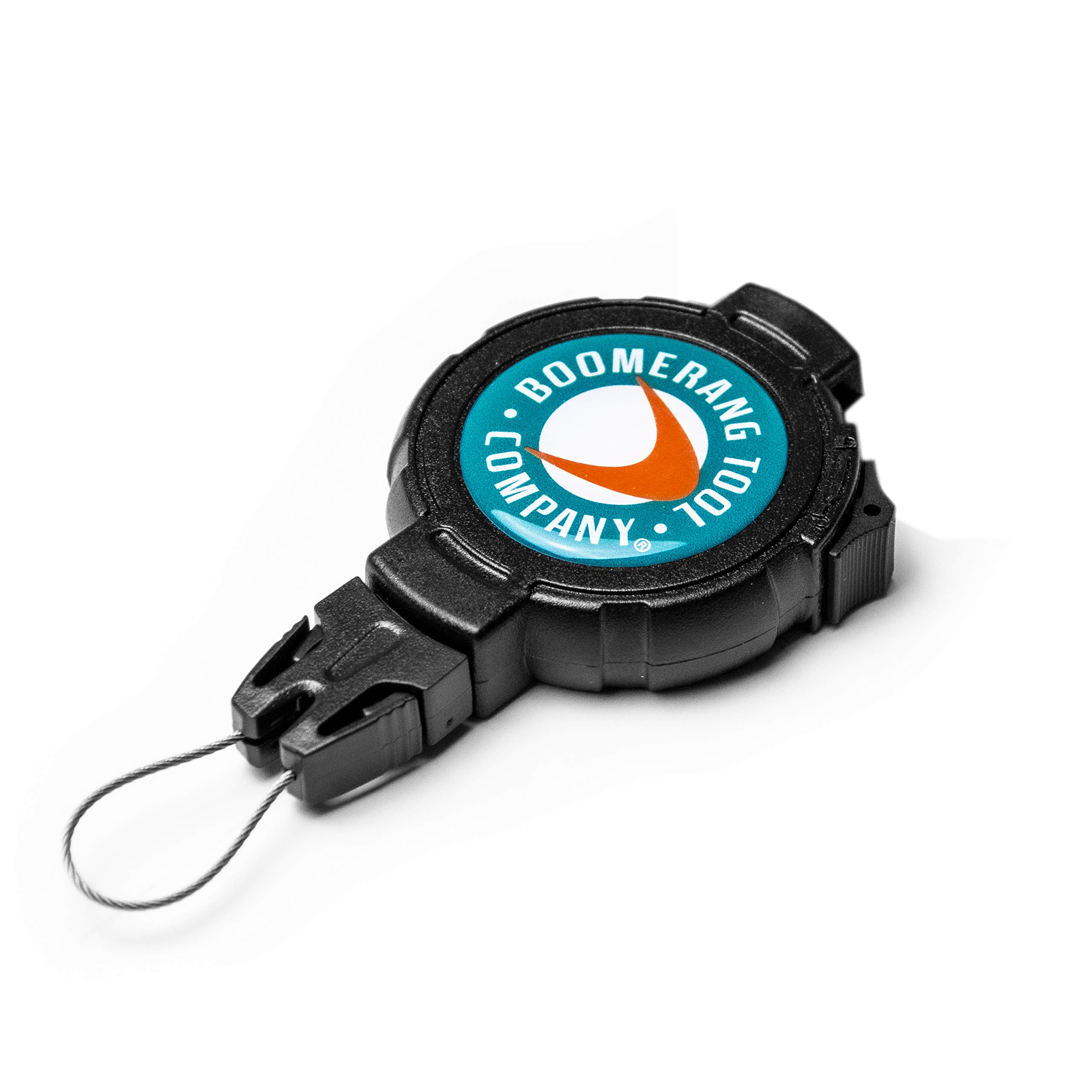 Boomerang Tool Company Fishing Retractable Gear Tether with a Retractable Kevlar Cord and Carabiner, Hook & Loop Strap or Belt Clip and Universal Wire End Fitting - Made in the USA