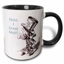 3dRose Hatter Have I Gone Mad Alice in Wonderland Two Tone Mug, 11 oz, Black/White