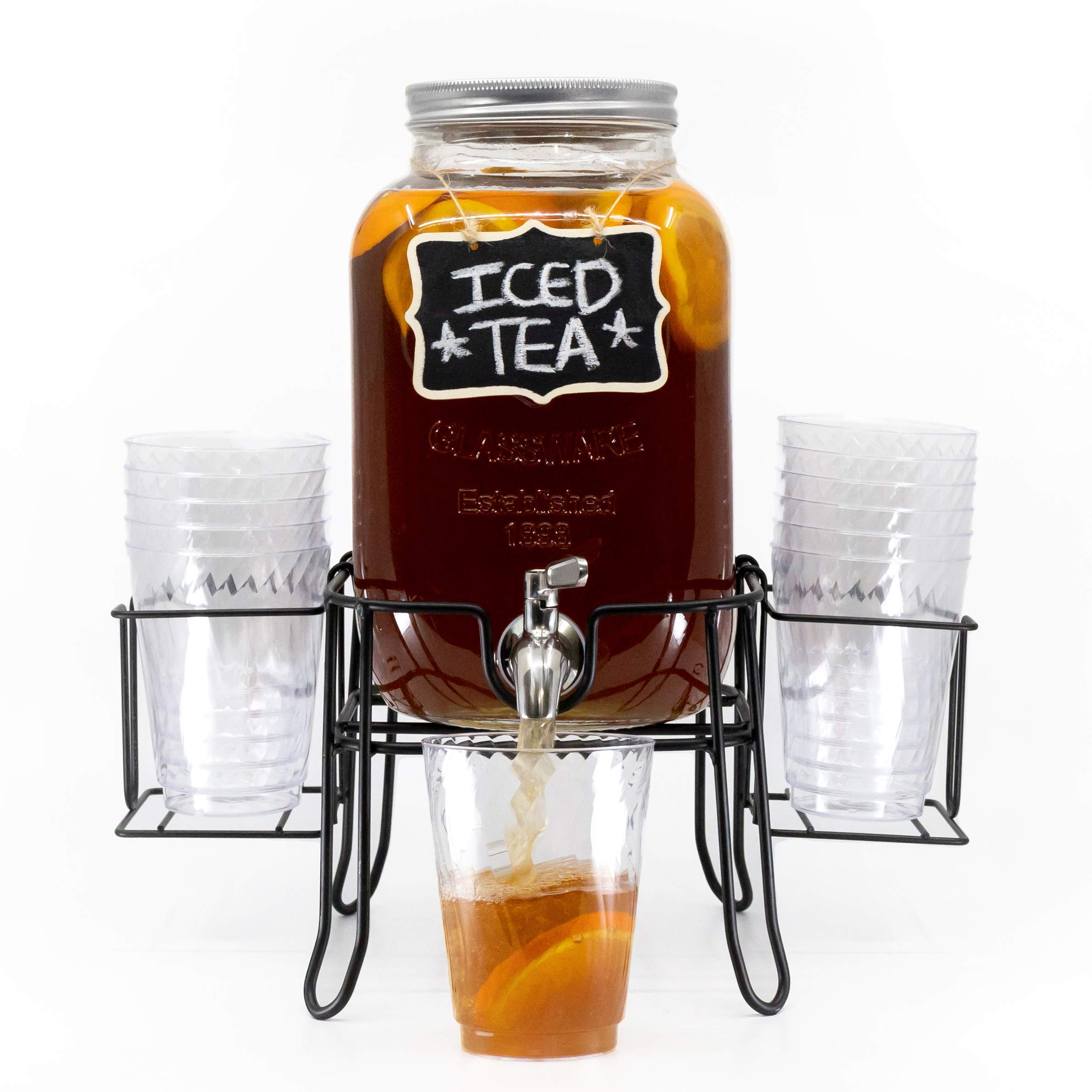 4 Kitchen 1 Gallon Glass Iced Beverage Dispenser with Cup Holder 100% Leak-Free Stainless Steel Spigot, Sturdy and Durable Cold Drink Mason Jar Holder with Metal Stand